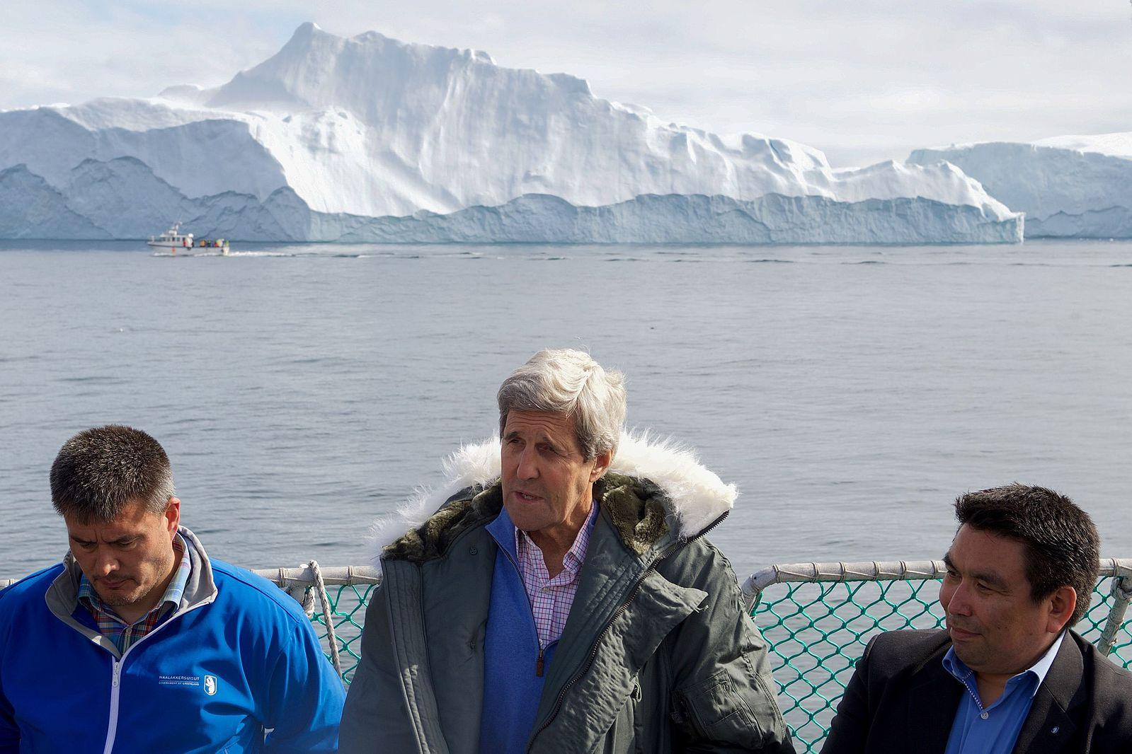 U.S. Secretary of State under the Obama Administration, John Kerry (middle) stands with Greenland's Prime Minister Kim Kielsen (left) and Greenland's Foreign Minister Vittus Qujaukitsoq (right), as they answer questions from reporters on June 17, 2016 regarding ice extent in Ilulissat, Greenland.