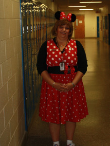 Mrs. Meade dressed as Minnie Mouse for Disney Day.