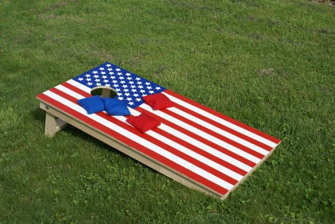 An example of a Cornhole board and bean bags.