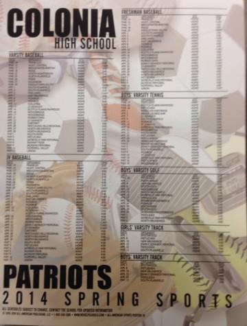 Spring Sports schedule 2014