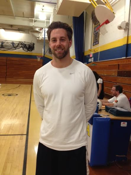 Mr. Biri psyched for the upcoming varsity volleyball game that day.
