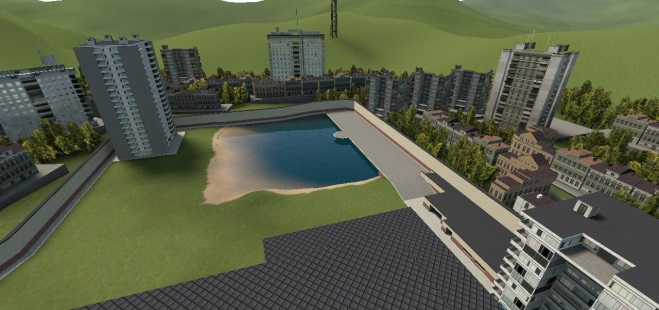 The First Map Construct Is A Tiny City With Small Lake Dock Area Two Towers Mini Apartment Building Garage Connected To
