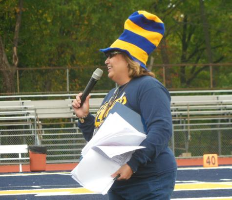 During Spirit Week, Mrs. Rosemary Meade prepares to announce the winning class.