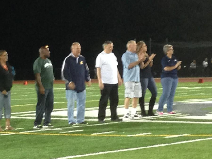 During half time of the Colonia vs. JFK football game, newly inducted members of the 2015 WTAAA were escorted on to the field and recognized for their achievements in sports.