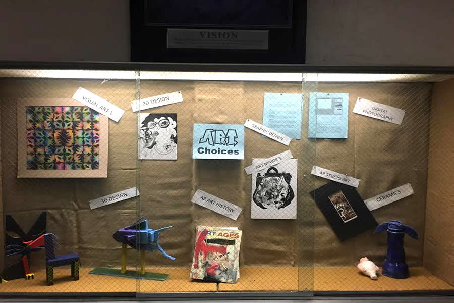 Art display of samples form the many different art classes offered at Colonia High School.