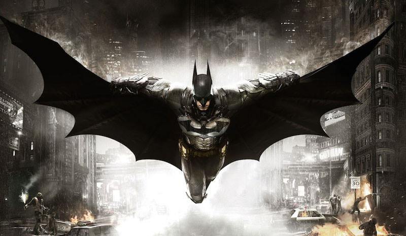 Batman gliding in the air ready to take on crime.