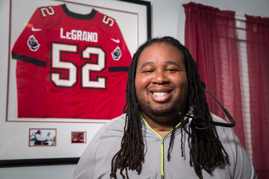 Confined+to+a+wheelchair+after+a+football+injury%2C+Eric+LeGrand+after+being+signed+by+the+Buccaneers.+It+is+not+just+LeGrand+who+believes+he+will+walk+again%3B+The+town+of+Colonia+believes+too.+