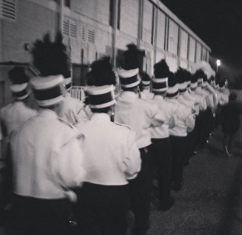 2015 season Marching Patriots walking down to the field for the Toms River Competition where they would beat they're own township record with a score of 88.35