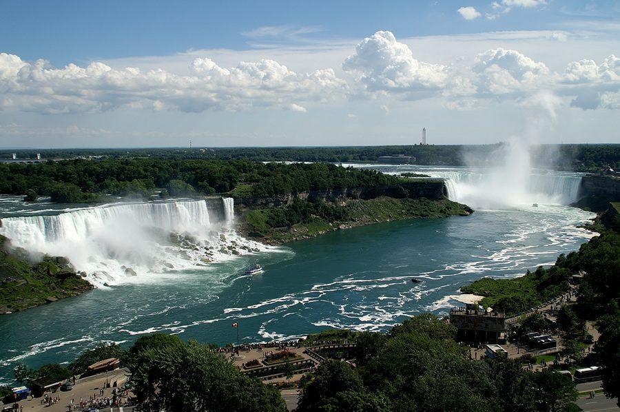 The Niagara Falls is actually the border between Ontario, Canada, and New York, USA