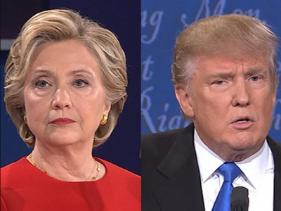 During the first presidential debate of 2016, both Democratic candidate Hillary Clinton (left) and Republican candidate Donald Trump (right) appear focused.
