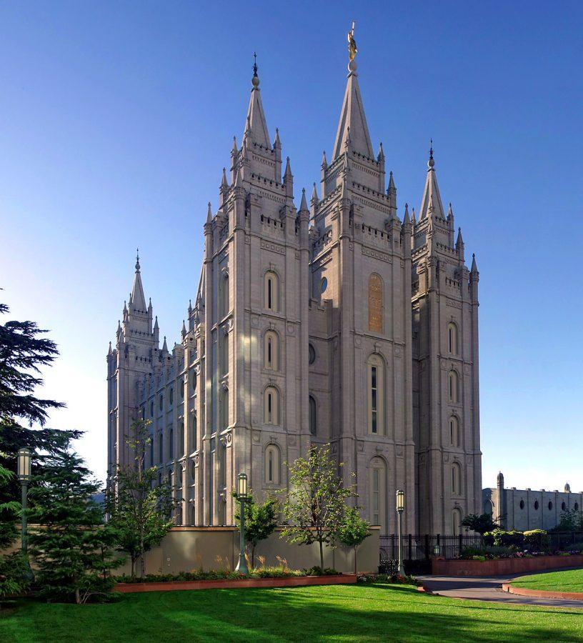 The Mormon church stands in Salt Lake City, Utah