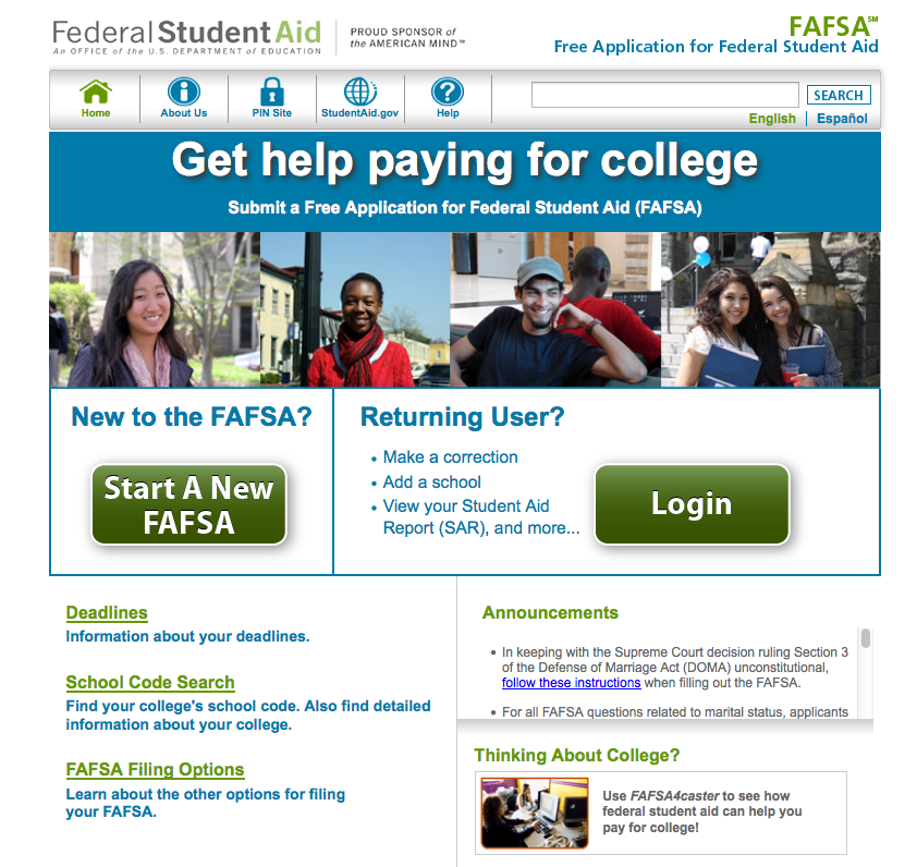 Awaiting traffic, the FAFSA website at FAFSA.gov allows students to create an account and file their applications.