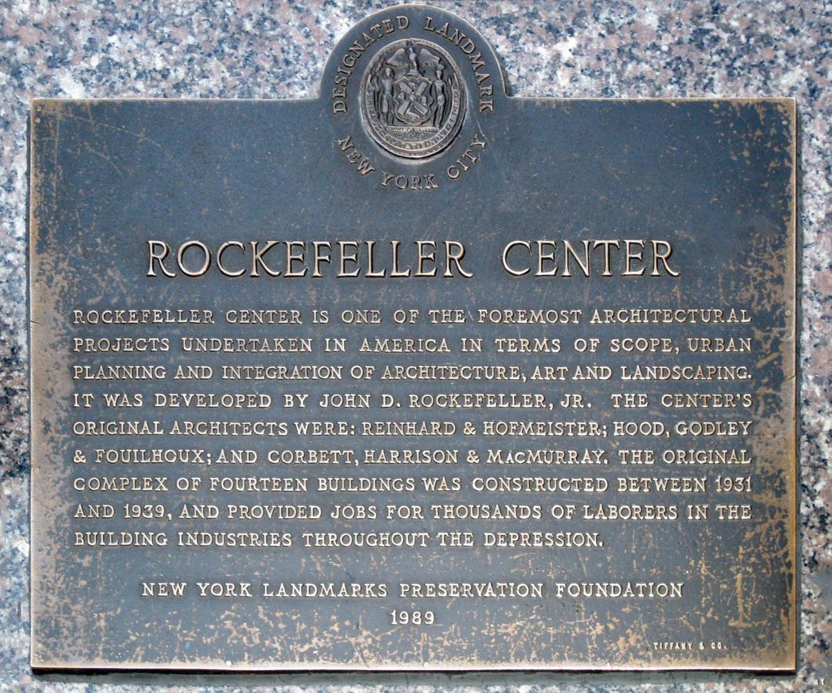 Indicating Rockefeller center as a Designated landmark of New York City, this plaque is a symbol of its importance.