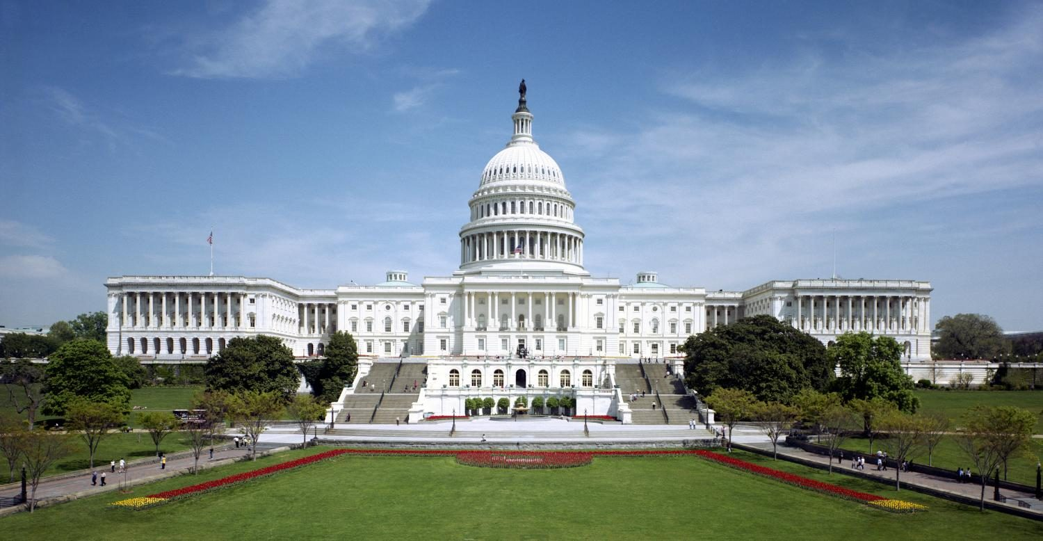 Representing the legislative branch the Western front of the United States Capitol stands tall.