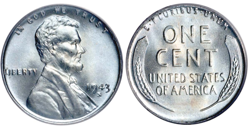 The+1943+U.S.+penny+was+made+of+steel