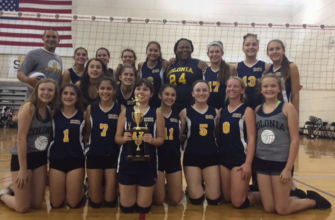 The+Colonia+High+varsity+girls+volleyball+team+is+shown+here+after+winning+the+Silver+Bracket+at+the+Bloomfield+Tournament.