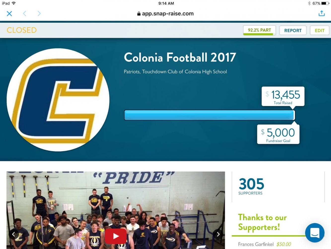 Due to the Colonia Patriots Off Season fundraiser, they are seen making $13,455.