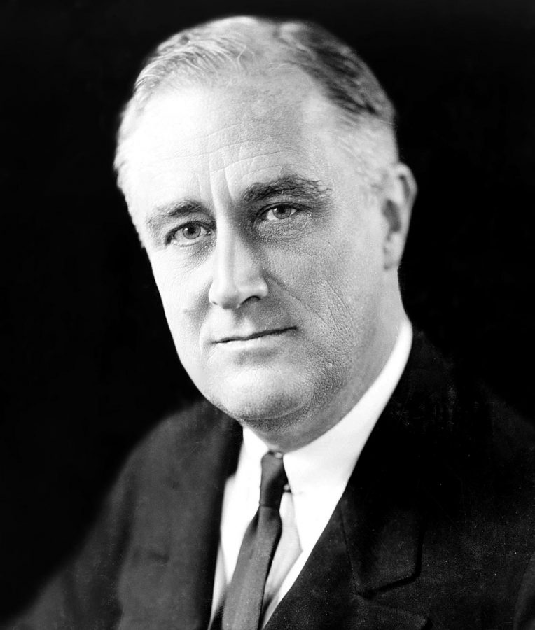 Displaying confidence and leadership Franklin D. Roosevelt smiles for a photographer.