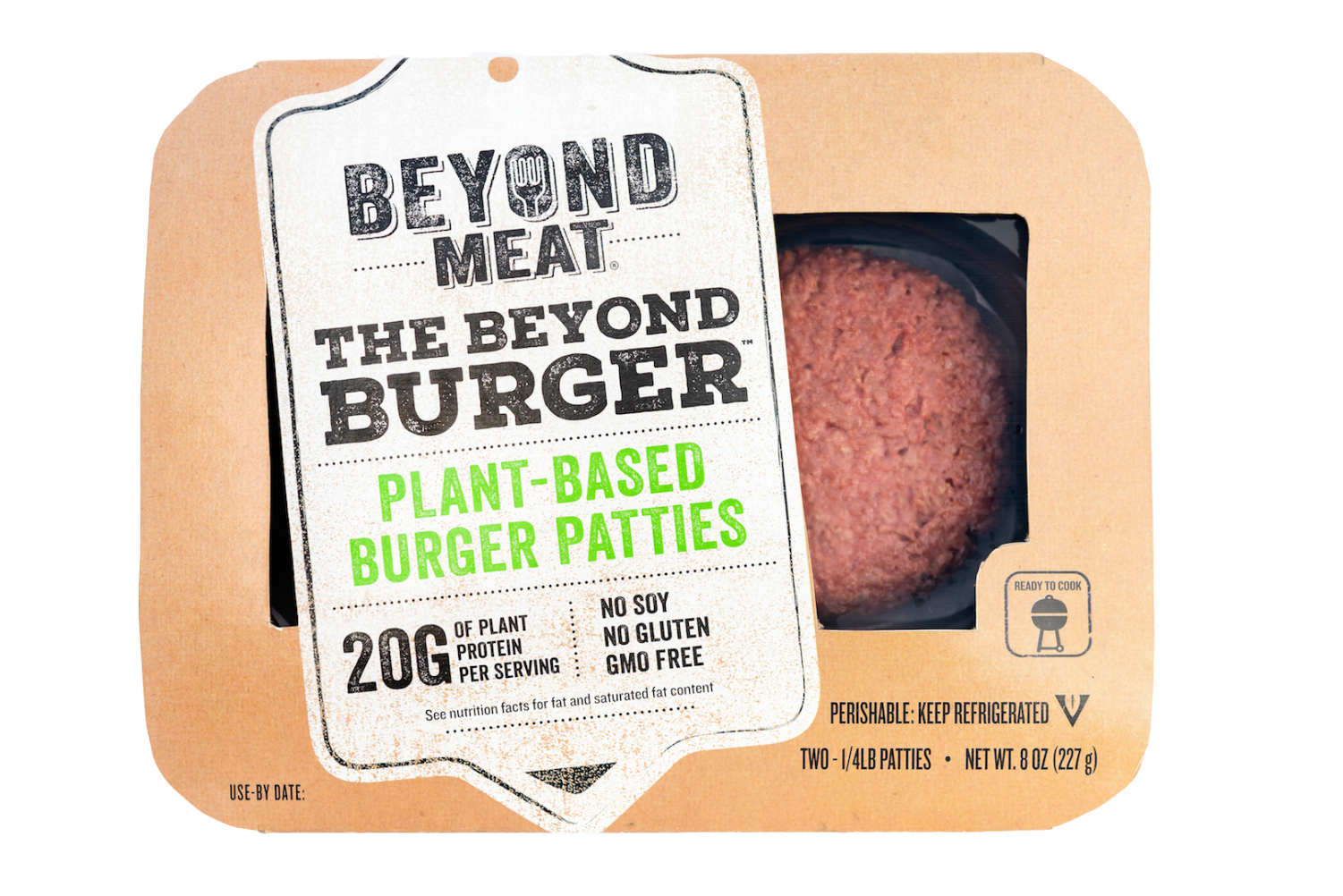 The famous Beyond Burger, in the package.