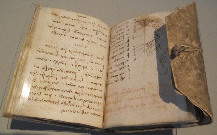 An example of one of the 52 manuscripts written by  Leonardo Da Vinci