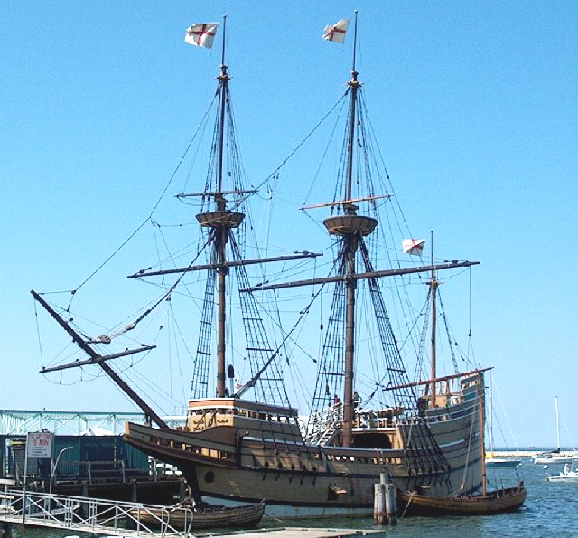 Sitting in the harbor the Mayflower ship is a historic landmark.