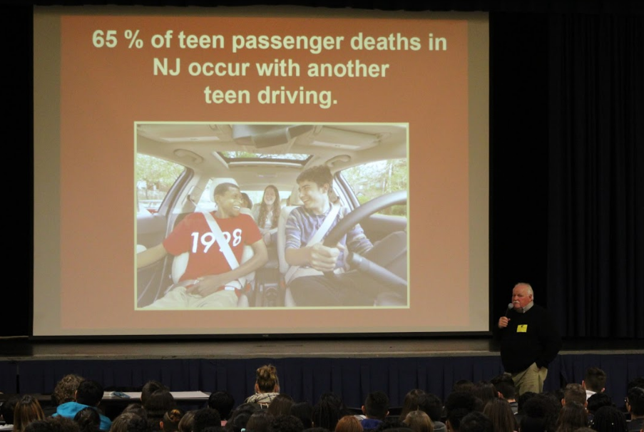 Presenting statistics on driver fatality, Bill Meary addresses the audience.