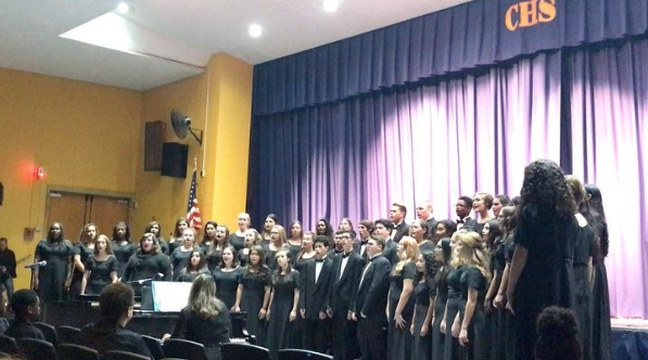 concert choir singing at the winter concert