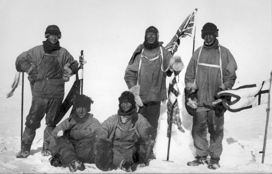 Freezing, these five Swedish explorers mark this spot as the south pole.
