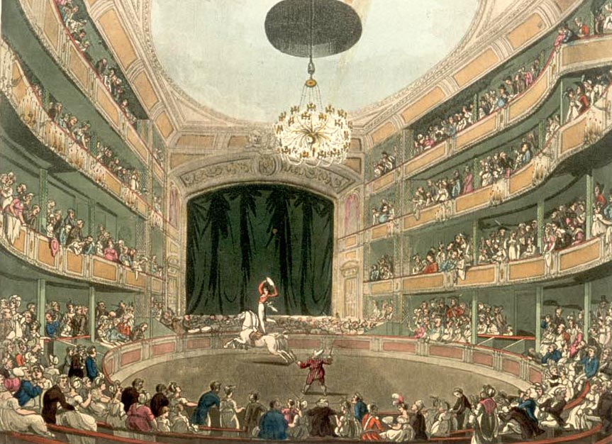 A painting of Ringmaster Philip Astley in Astley's Amphitheatre