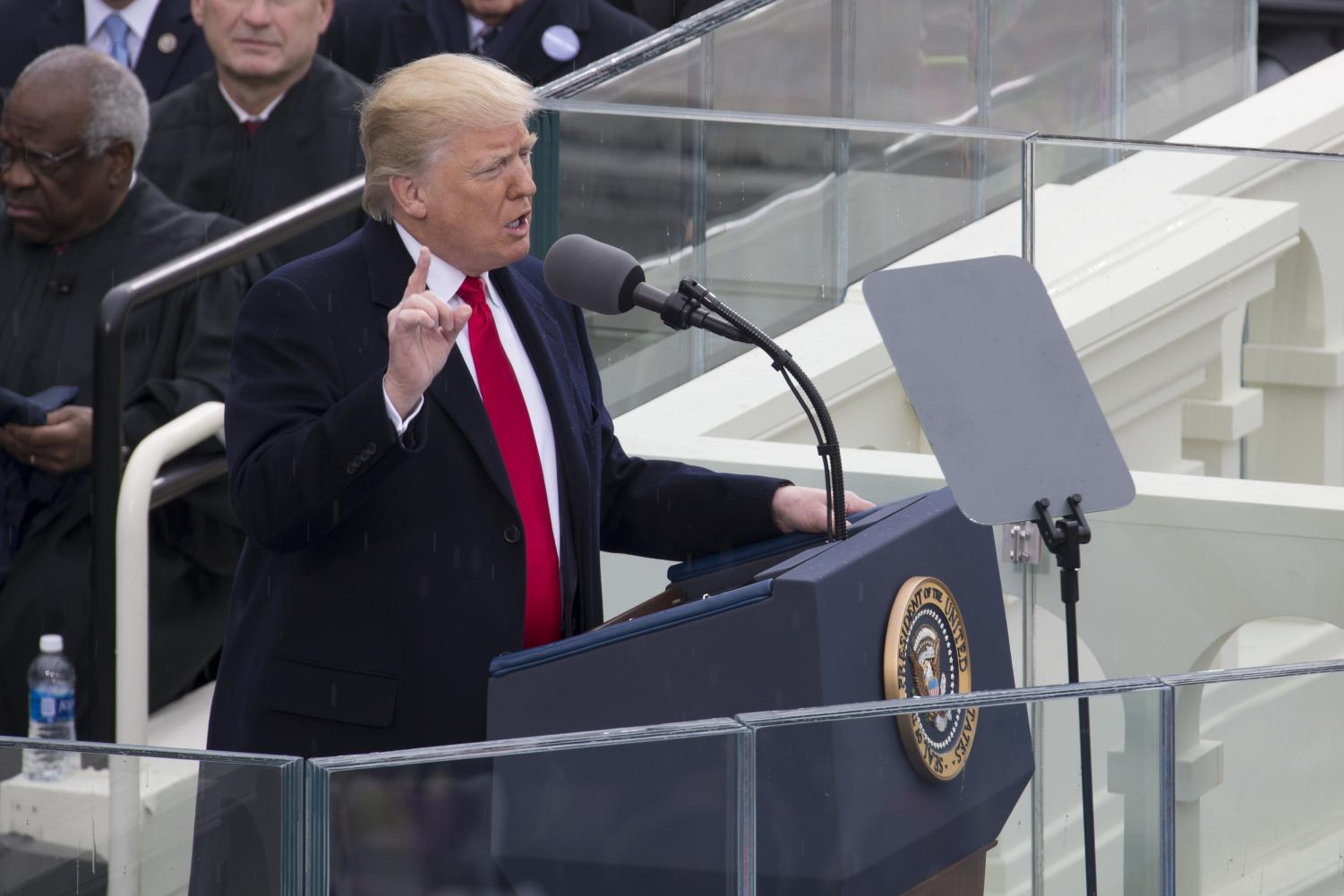 Addressing the Audience Donald Trump makes his inauguration speech after becoming the President of the United States.
