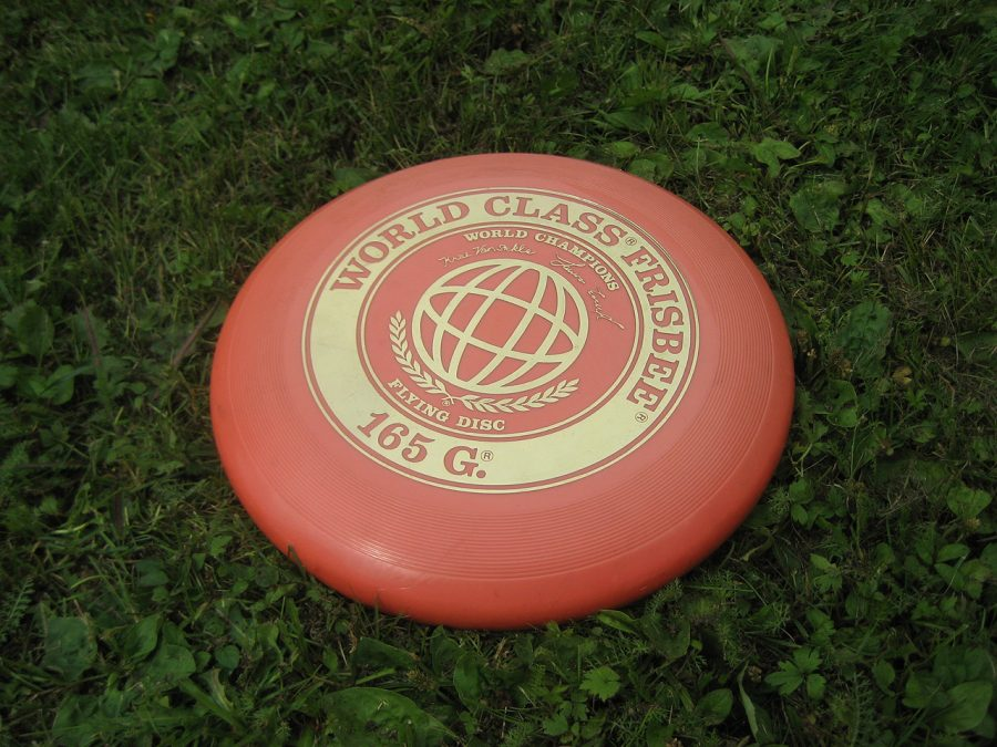 Your average everyday Frisbee modeled by the original product made by Wham-O toys in 1957.