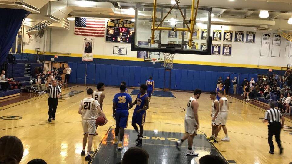 After a Colonia foul the North Brunswick Raiders go to the foul line to attempt to come back against Colonia, who would go on to win by ten.