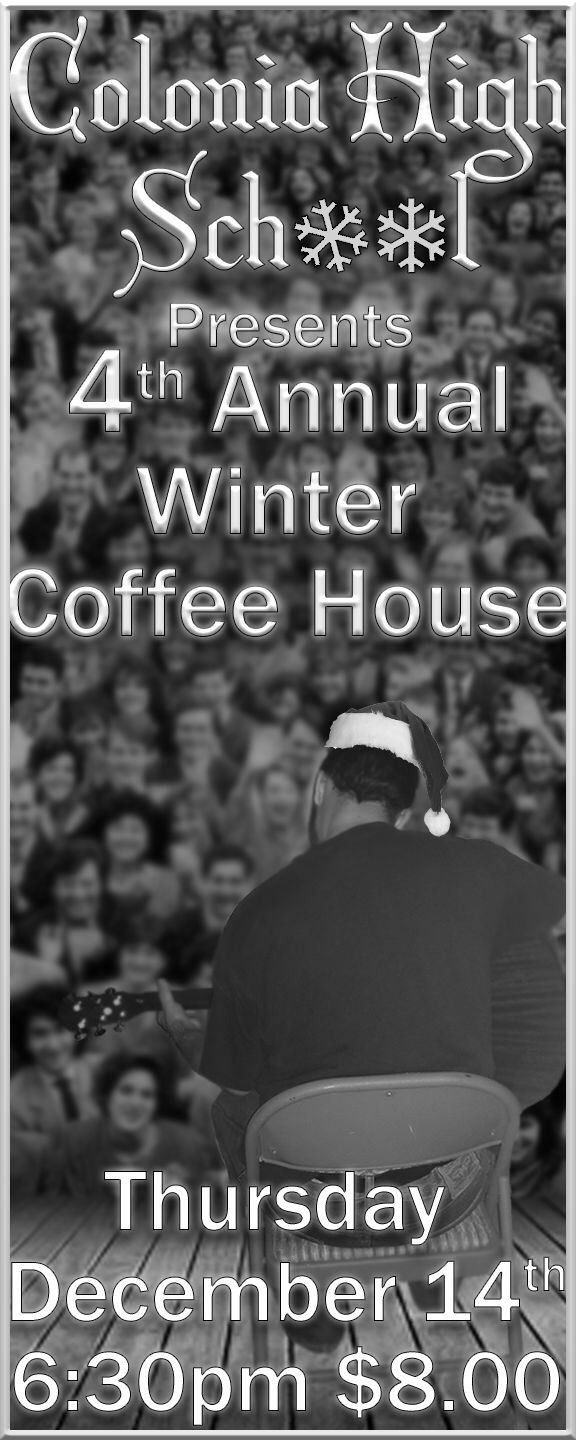 A Coffee house ticket created by a student in guitar club.