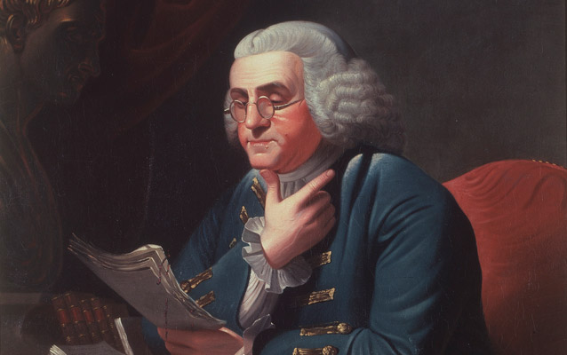 A portrait of Franklin shows him reading a report and thinking over its material.