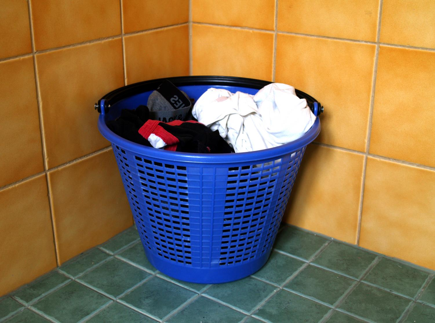 a bundle of clothes in a basket