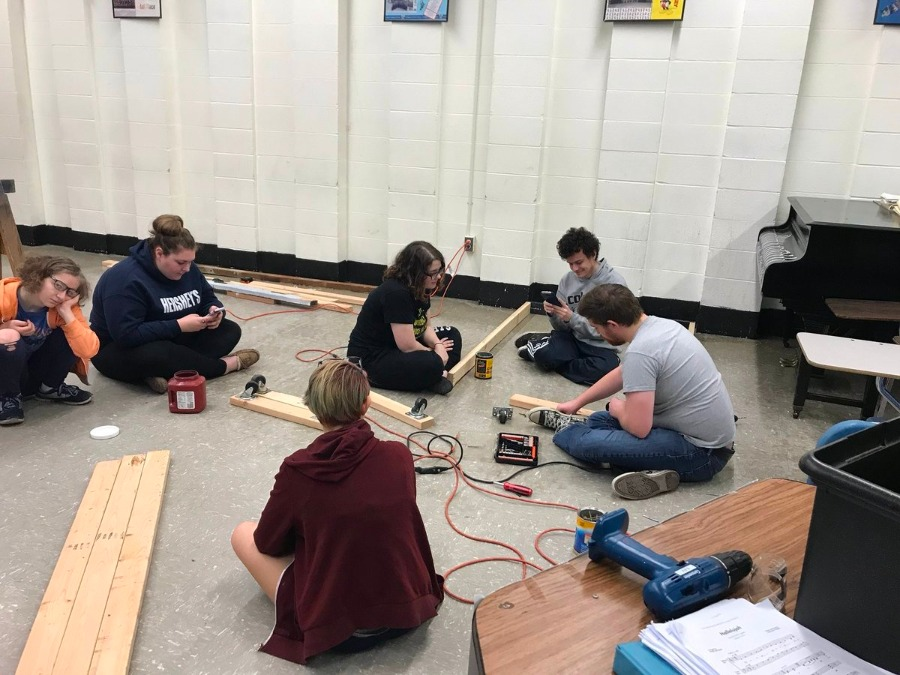 Set Design Crew in the early stages of creating Hairspray's set.