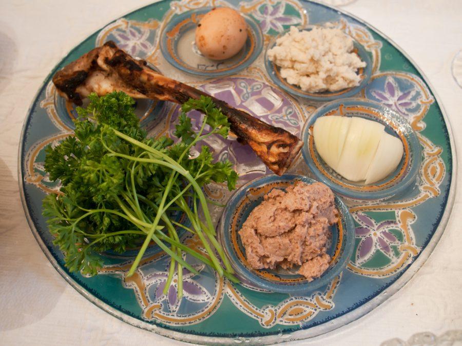 When+celebrating+Passover%2C+a+traditional+seder+plate+includes+matzah%2C+the+zeroa+%28shankbone%29%2C+egg%2C+bitter+herbs%2C+charoset+paste+and+karpas+vegetable.
