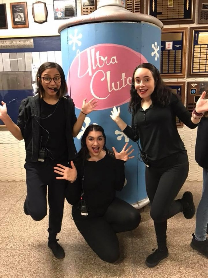 Stage Manager Elaina Misciagnia (center) striking a pose with Assistant Stage Managers Giselle Pampo (Left) and Jaden Riveles (Right.)