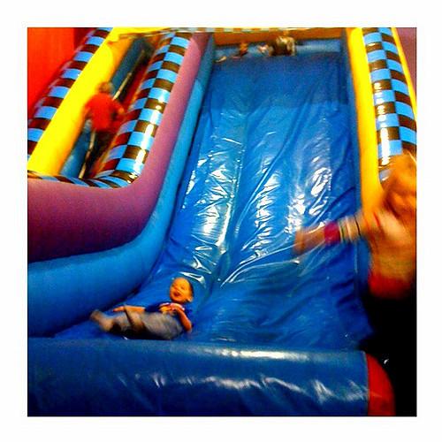 Children play on