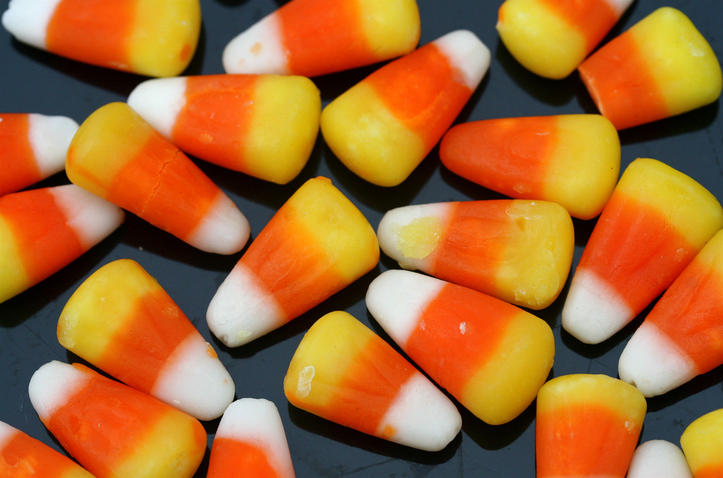 Candy corn is a popular candy around Halloween time.