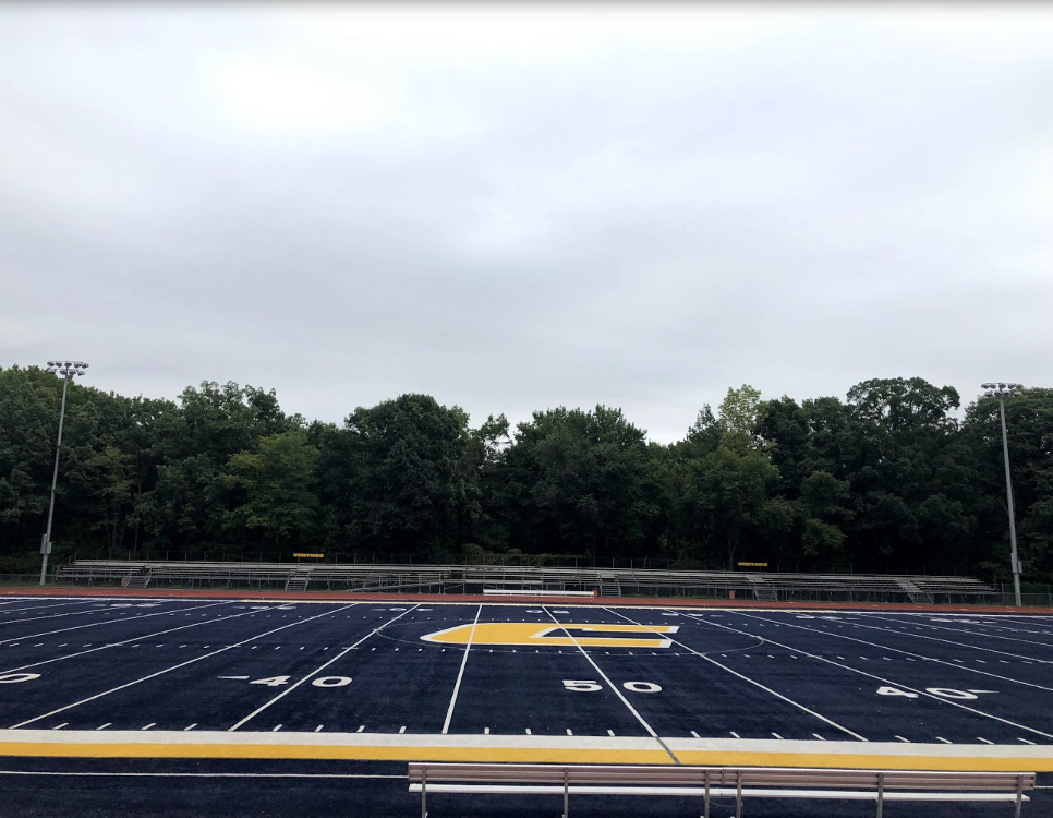 Colonia High's iconic blue turf.