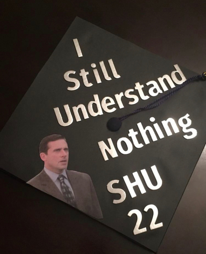 Former student, David Kaca, decorated his graduation cap inspired by one of his favorite shows,