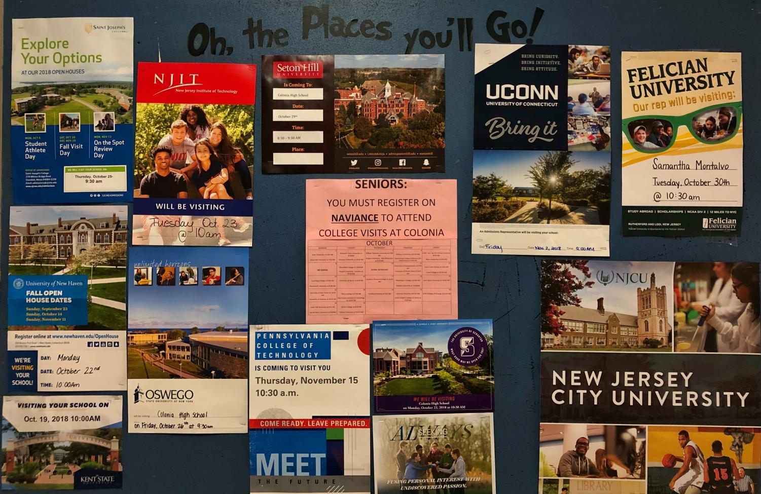 Information about colleges posted outside of the CHS counseling office.