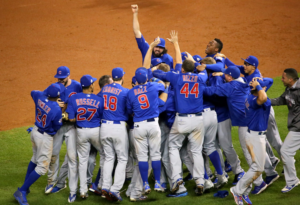 Seen here is the Chicago Cubs 2016 team celebrating after winning their first World Series in over 100 years.