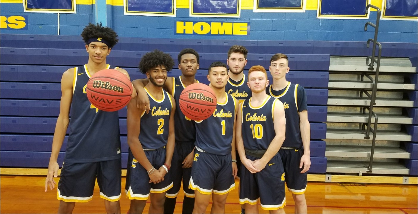 Seen here are the 2018-2019 Colonia basketball senior players prior to their opening night game.