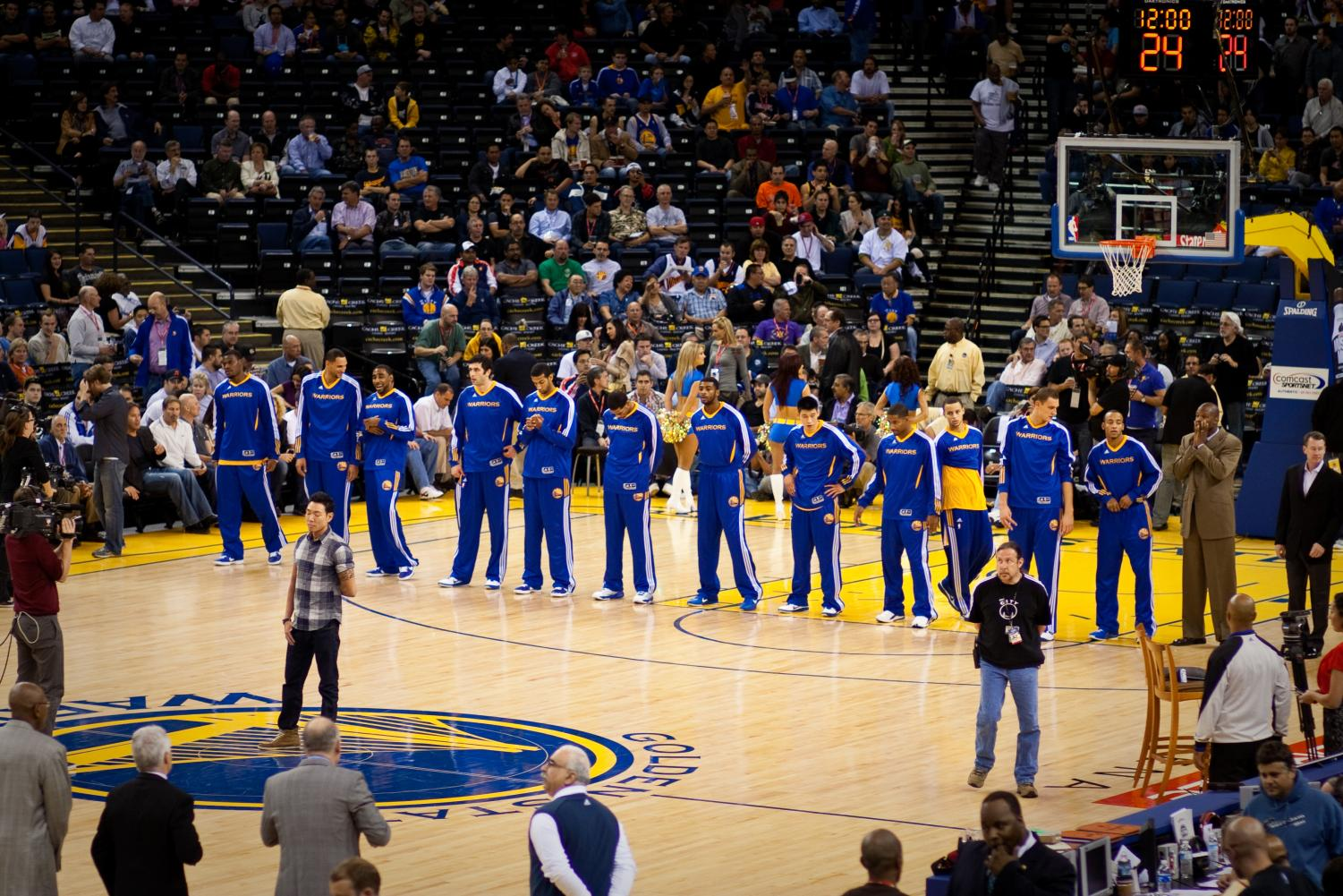 Seen here is the Golden State Warriors, the NBA defending champions, before one of their games.