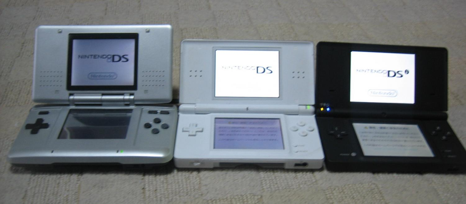 The Nintendo DS was released in 2004 (left), then followed by the Nintendo DS lite which was released in 2006 (center), and then followed by the DSI. The DSI was released in 2009 and featured internet connectivity.