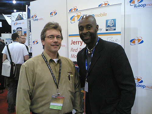 Seen here on the right is NFL legend and the leader in all-time touchdown receptions, Jerry Rice.