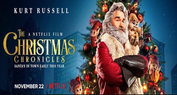 Clad in red and white Kurt Russel is Santa Claus in the new Netflix movie The Christmas chronicles.