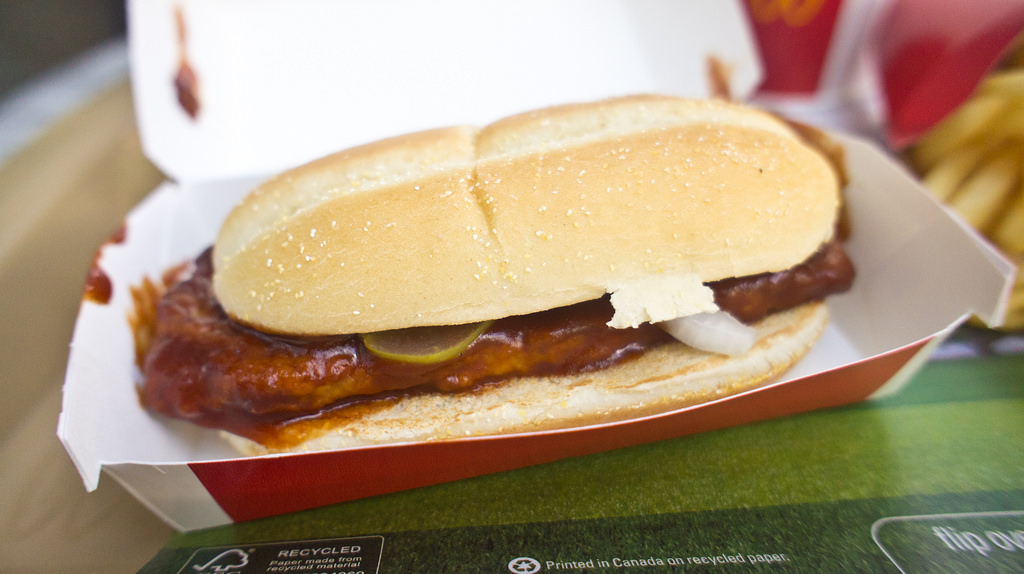 McRib sandwiches were discontinued after 1985.